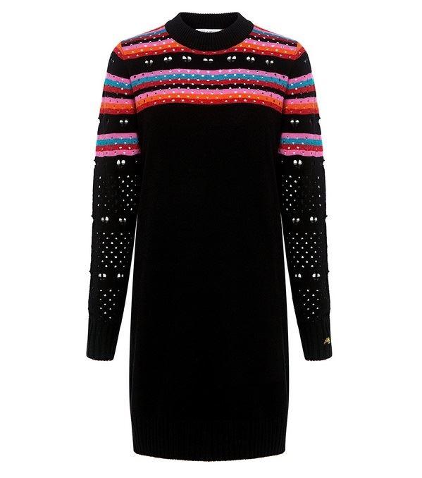 Тёплые вязаные платья-свитер 2018 - чрное с яркими полосками и перфорированными рукавами