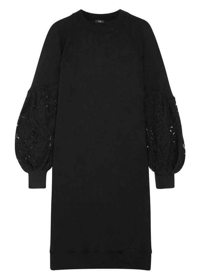 Тёплые вязаные платья-свитер 2018 - чёрное с пышными кружевными рукавами