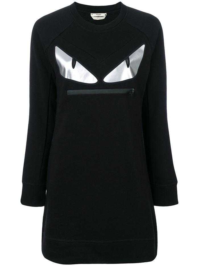 Тёплые вязаные платья-свитер 2018 - чёрное с глазами