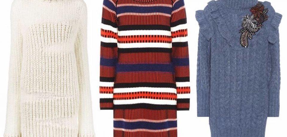 Тёплые вязаные платья-свитер 2018