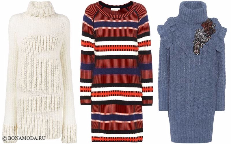 Тёплые вязаные платья-свитер 2018 - модные тенденции