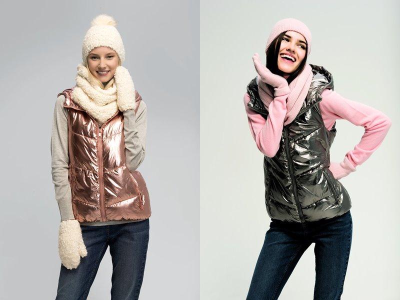 Верхняя одежда ТВОЕ осень 2017 - девушки в блестящих дутых жилетах
