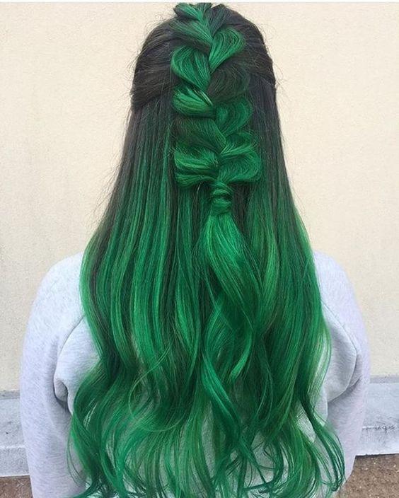 """Зелёные волосы - """"мальвина"""" с растрёпанной косой"""