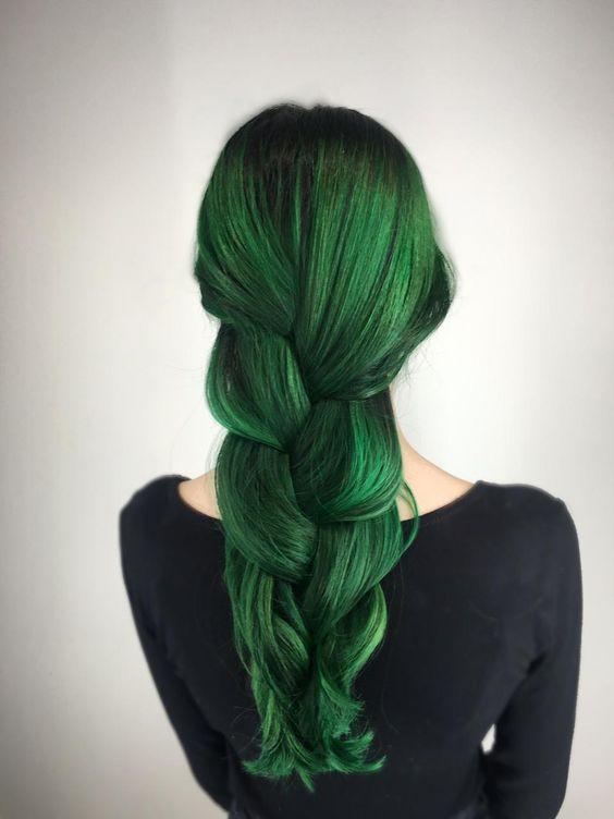 Зелёные волосы - длинная густая коса