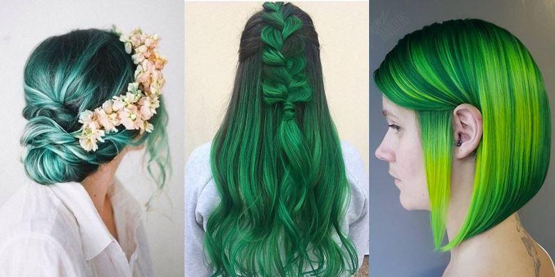 Зелёные волосы - фото коллаж девушек с разными оттенками