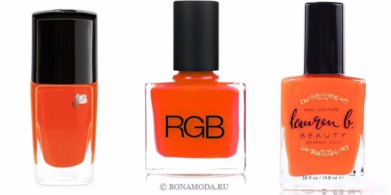 Цвета лака для ногтей 2018: модные новинки - ослепительный неоновый оранжевый