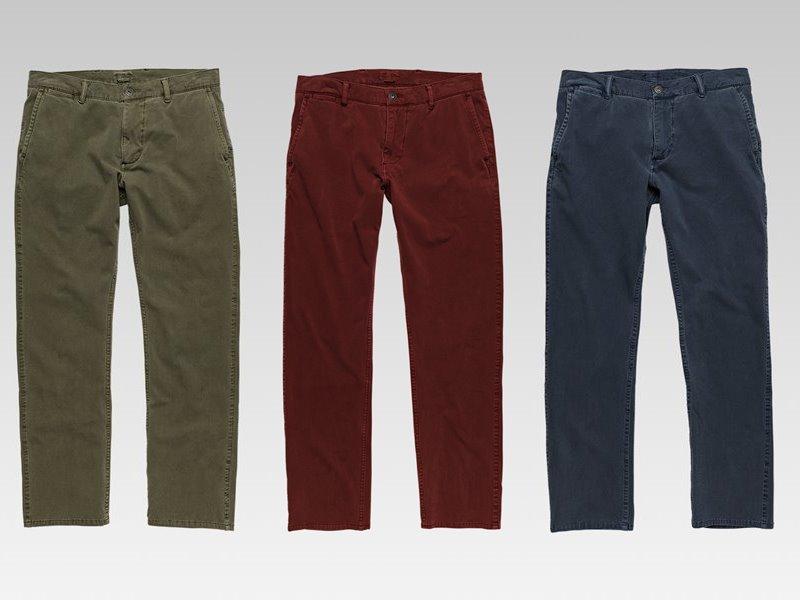 Коллекция мужской одежды Dockers осень-зима 2017-2018 - джинсы хаки, красные и тёмно-синие