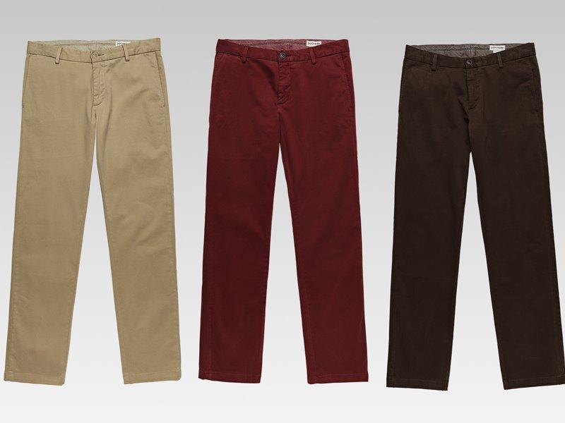Коллекция мужской одежды Dockers осень-зима 2017-2018 - брюки бежевые, красные и коричневые