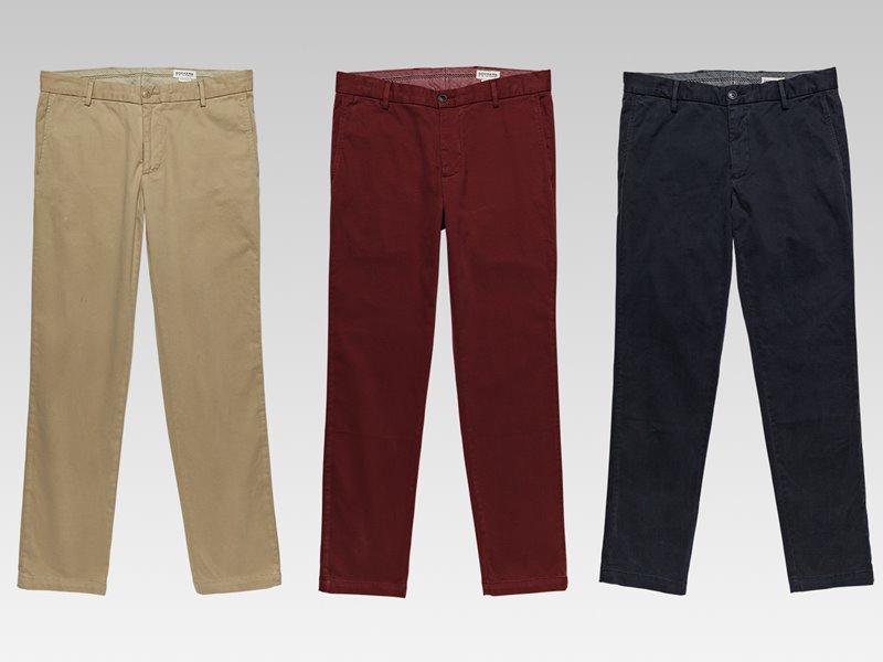 Коллекция мужской одежды Dockers осень-зима 2017-2018 - брюки бежевые, красные и черные