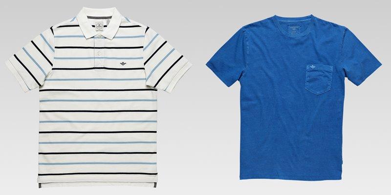 Коллекция мужской одежды Dockers осень-зима 2017-2018 - футболки - полосатая поло и ярко-голубая