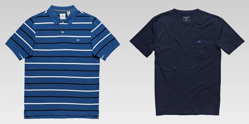 Коллекция мужской одежды Dockers осень-зима 2017-2018 - футболки - синяя в полоску и однотонная