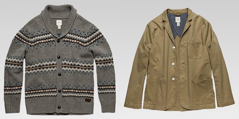Коллекция мужской одежды Dockers осень-зима 2017-2018 - трикотажный кардиган и куртка-блейзер хаки