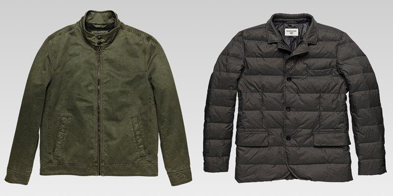 Коллекция мужской одежды Dockers осень-зима 2017-2018 - куртка-бомбер хаки и пуховик