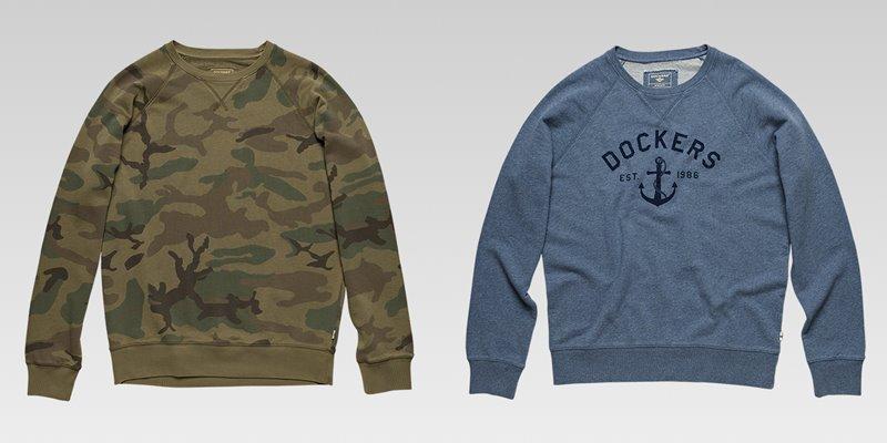 Коллекция мужской одежды Dockers осень-зима 2017-2018 - лонгсливы хаки с защитным принтом и серо-синий
