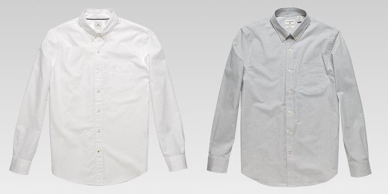 Коллекция мужской одежды Dockers осень-зима 2017-2018 - белая и серая рубашка классическая