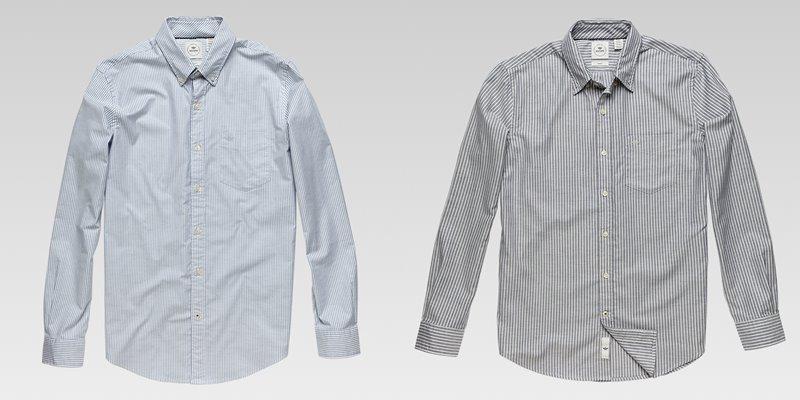 Коллекция мужской одежды Dockers осень-зима 2017-2018 - рубашка серо-голубая и серая в тонкую полоску