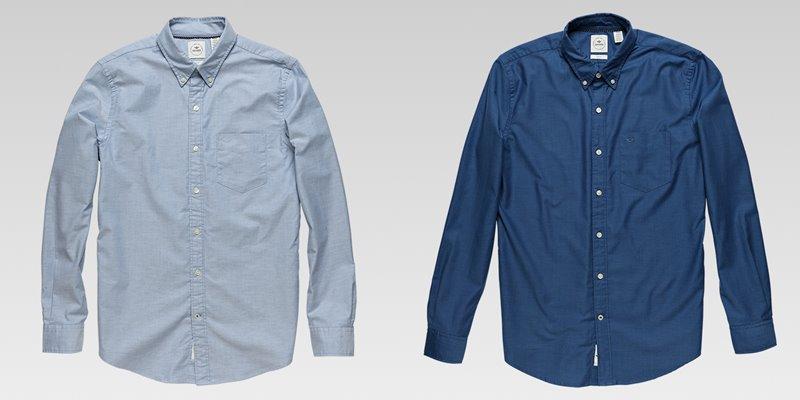 Коллекция мужской одежды Dockers осень-зима 2017-2018 - рубашка светлая голубая и яркая синяя