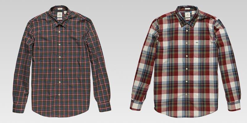Коллекция мужской одежды Dockers осень-зима 2017-2018 - рубашки красно-серая в мелкую и крупную клетку