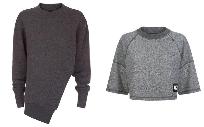 Коллекция Ivy Park осень-зима 2017-2018 - серый асимметричный свитшот и короткий кроп-топ