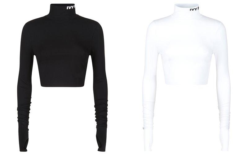 Коллекция Ivy Park осень-зима 2017-2018 -  спортивные короткие топы с длинными рукавами - черные и белые