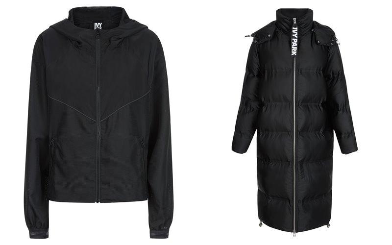 Коллекция Ivy Park осень-зима 2017-2018 -  черная куртка и длинное пальто-пуховик