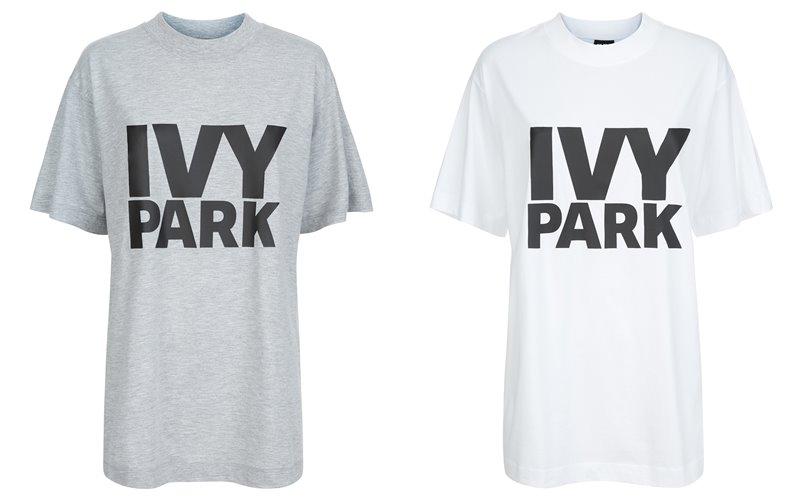 Коллекция Ivy Park осень-зима 2017-2018 - серая и белая футболка с надписью-лого