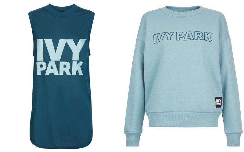 Коллекция Ivy Park осень-зима 2017-2018 - бирюзовая длинная майка и свитшот