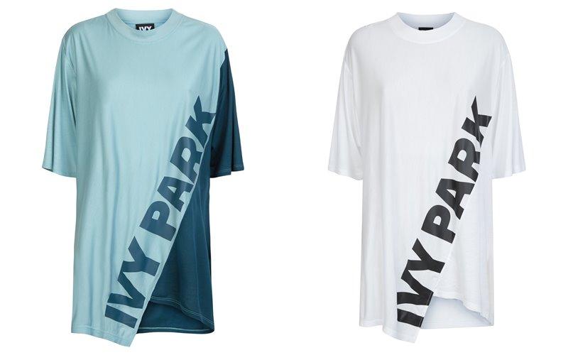 Коллекция Ivy Park осень-зима 2017-2018 - бирюзовая и белая асимметричная футболка