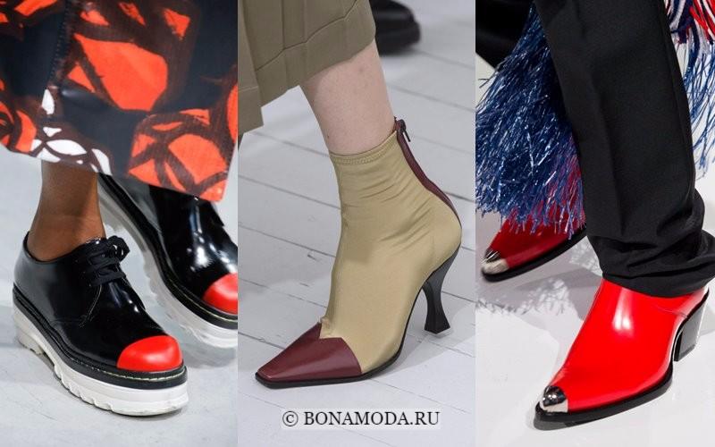 Модная женская обувь весна-лето 2018 - ботинки и ботильоны с контрастным мыском