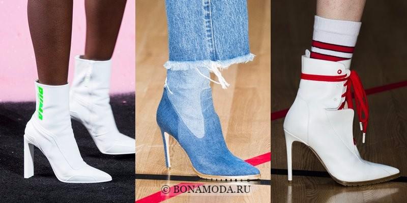 Модная женская обувь весна-лето 2018 - белые и синие джинсовые ботильоны с острым мыском