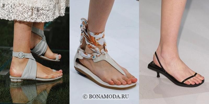 Модная женская обувь весна-лето 2018 - плоские открытые сандалии-вьетнамки