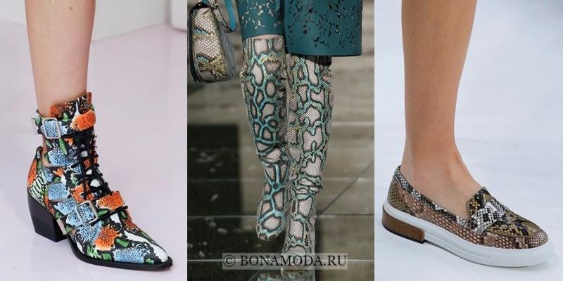 Модная женская обувь весна-лето 2018 - яркий змеиный принт