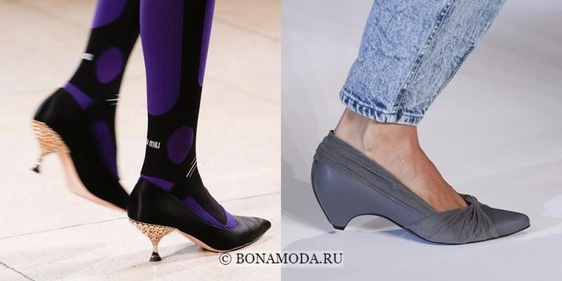 Модная женская обувь весна-лето 2018 - туфли с низким коническим каблуком