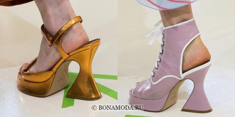 Модная женская обувь весна-лето 2018 - туфли на платформе с изогнутым каблуком-рюмочкой