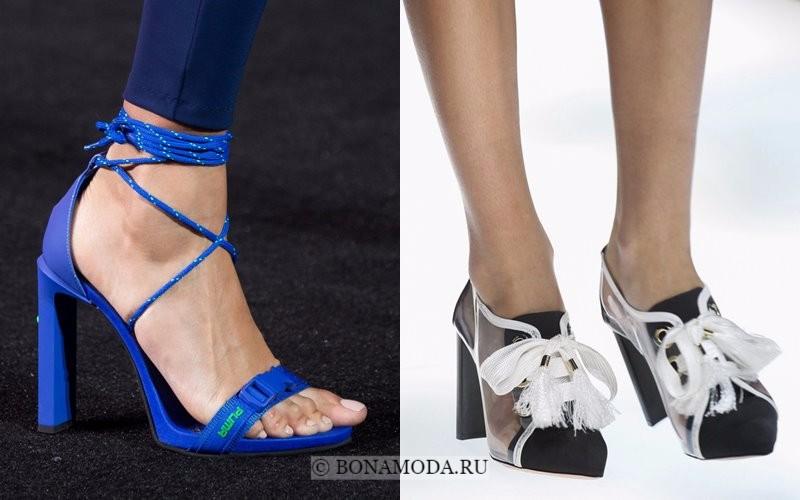 Модная женская обувь весна-лето 2018 - туфли на каблуке и шнуровке