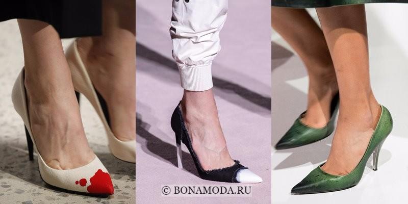 Модная женская обувь весна-лето 2018 - туфли-лодочки на шпильке с контрастным мыском