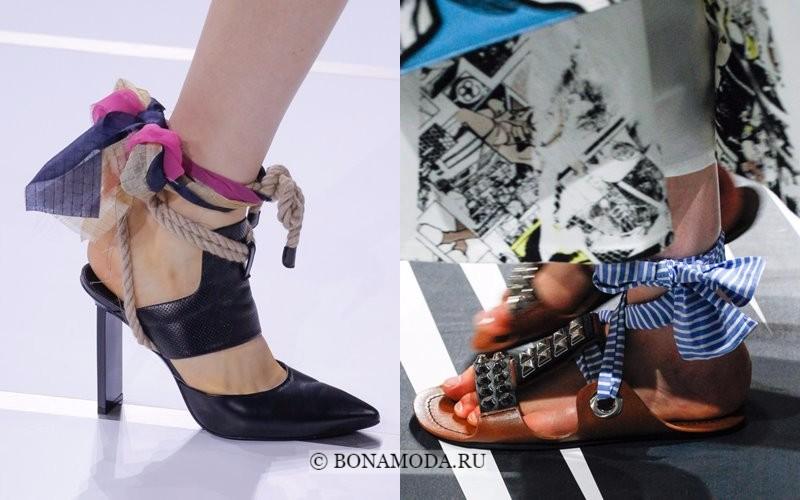 Модная женская обувь весна-лето 2018 - туфли с верёвками и текстильными перевязками