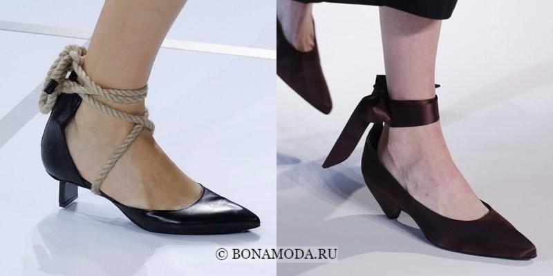 Модная женская обувь весна-лето 2018 - туфли на низком каблуке с лентами и веревками