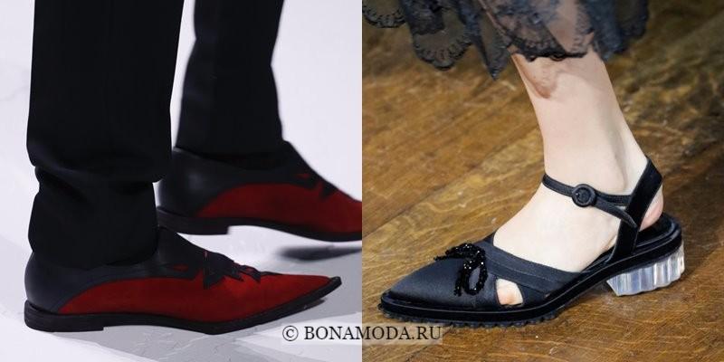 Модная женская обувь весна-лето 2018 - плоские туфли с острым мыском