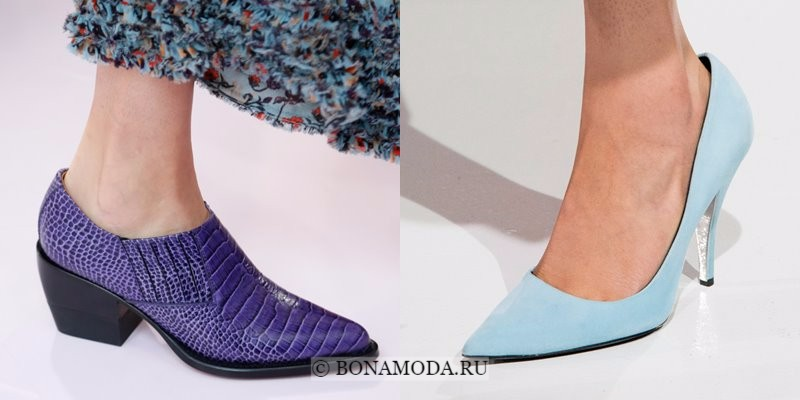 Модная женская обувь весна-лето 2018 - туфли с острым мыском и на каблуке