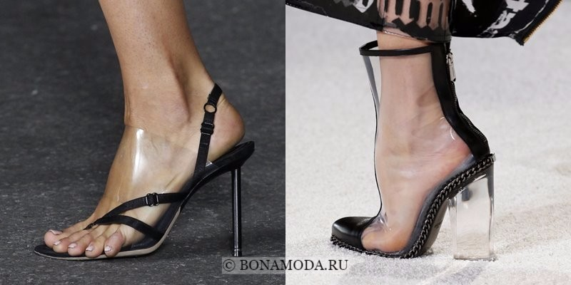Модная женская обувь весна-лето 2018 - черные туфли и ботильоны с прозрачным пластиком