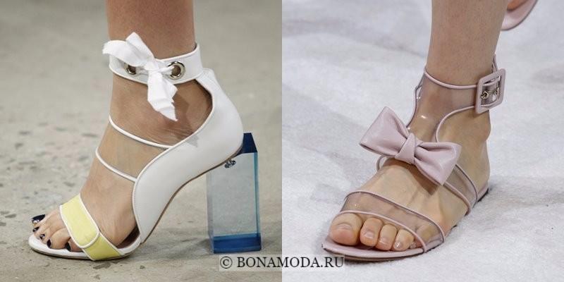 Модная женская обувь весна-лето 2018 - летние светлые туфли с прозрачным пластиком