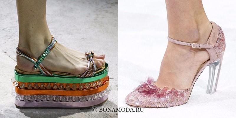 Модная женская обувь весна-лето 2018 - туфли на платформе и каблуке с пластиковым декором