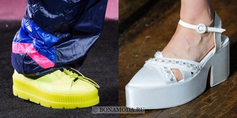 Модная женская обувь весна-лето 2018 - плоские желтые ботинки и белые туфли на платформе