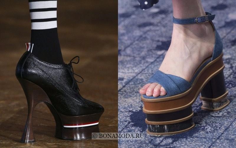 Модная женская обувь весна-лето 2018 - ботильоны и босоножки на каблуке и высокой платформе