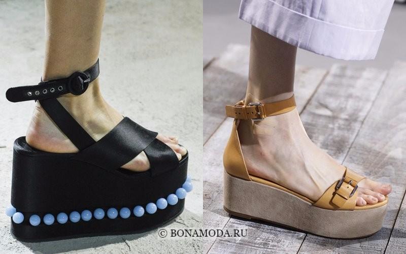 Модная женская обувь весна-лето 2018 - босоножки-сабо на массивной платформе