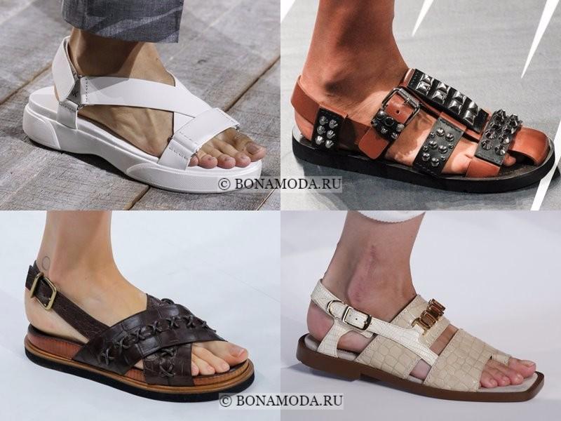 Модная женская обувь весна-лето 2018 - плоские открытые летние сандалии