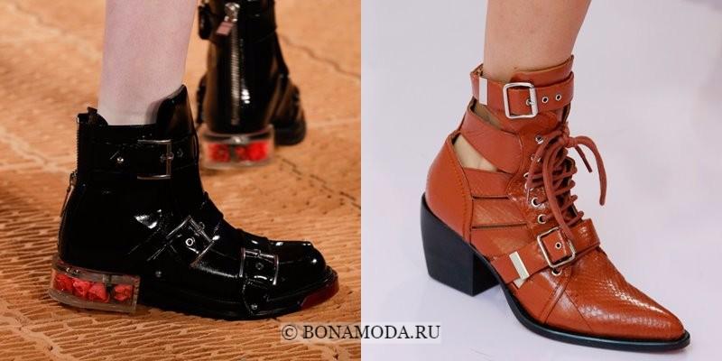 Модная женская обувь весна-лето 2018 - черные и коричневые ботильоны с ремешками