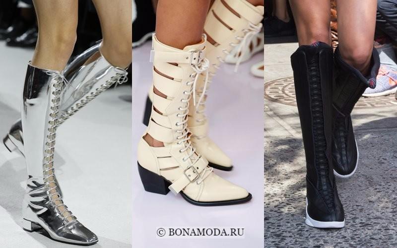 Модная женская обувь весна-лето 2018 - высокие сапоги на шнуровке