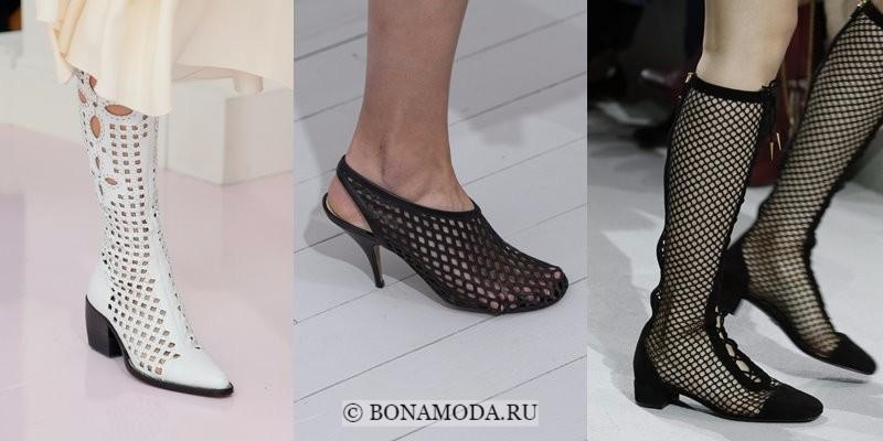 Модная женская обувь весна-лето 2018 - белые и черные сапоги с сеткой-перфорацией